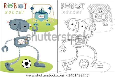 robots · groep · cartoon · pagina · zwart · wit · illustratie - stockfoto © izakowski