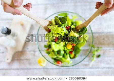 Detail vers sla bladeren vegetarisch eten voorbereiding Stockfoto © X-etra