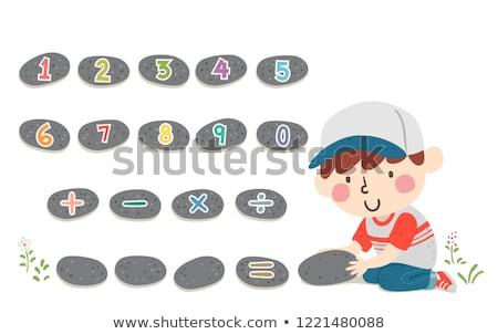 Gyerek fiú tavasz kő matematika illusztráció Stock fotó © lenm