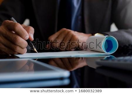 Vérifier stylo vide chèque remplissage forme Photo stock © robuart