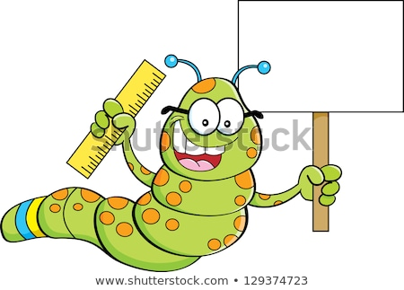 cartoon inchworm holding a sign stock photo © bennerdesign