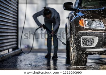 Bonitinho mulher lavagem carro manual Foto stock © lightpoet