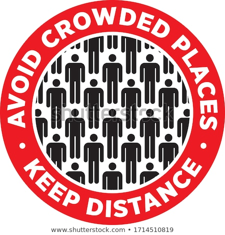 Avoid Crowded Places Keep Social Distance Sticker Stock photo © almagami