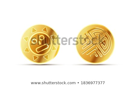 Two bright glossy golden ancient coins on white Stock photo © evgeny89