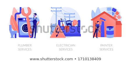 Festő szolgáltatások absztrakt lakóövezeti kereskedelmi festmény Stock fotó © RAStudio