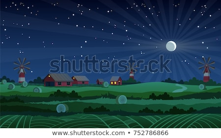 Farm scene with barn and mill at night Stock photo © bluering