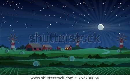 Farm jelenet csőr malom éjszaka illusztráció Stock fotó © bluering