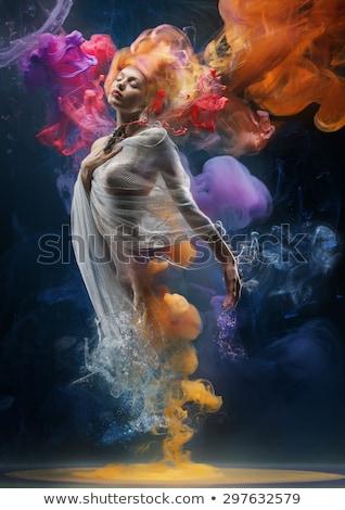 white fishnet girl Stock photo © dolgachov