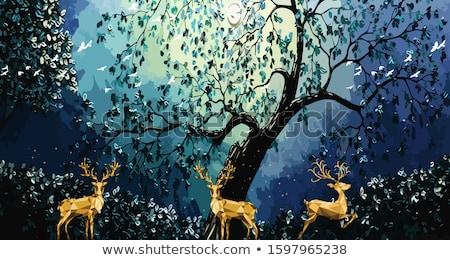 karácsonyfa · kék · elemlámpa · fekete · buli · absztrakt - stock fotó © hofmeester