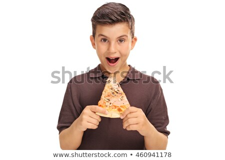 мало мальчика еды пиццы сыра Сток-фото © zhekos