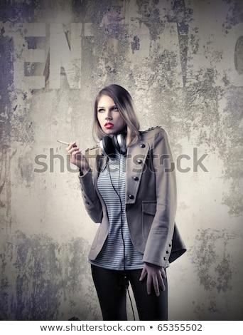 Stockfoto: Blond · roken · sigaret · jonge · mode · meisje