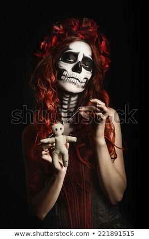 砂糖 · 頭蓋骨 · 少女 · 赤いバラ · プロ · 女性 - ストックフォト © elisanth