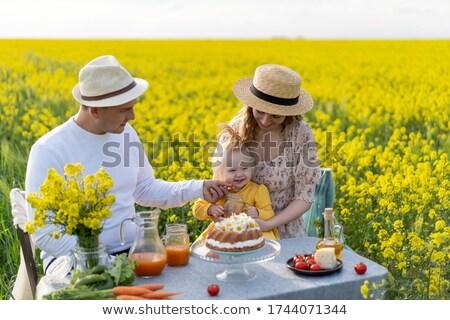mulher · bonita · amarelo · campo · bastante · morena - foto stock © geribody