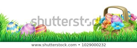 Pascua huevos de Pascua huevos huevo escudo papel Foto stock © Wetzkaz