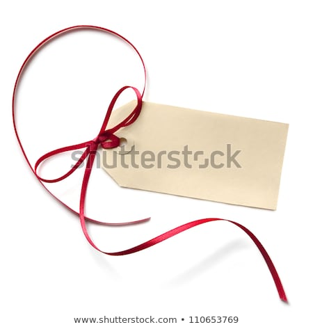 Red Bow And Blank Gift Tag Stock photo © cammep