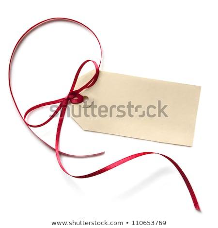 regalo · tag · arco · isolato · bianco · rosso - foto d'archivio © cammep