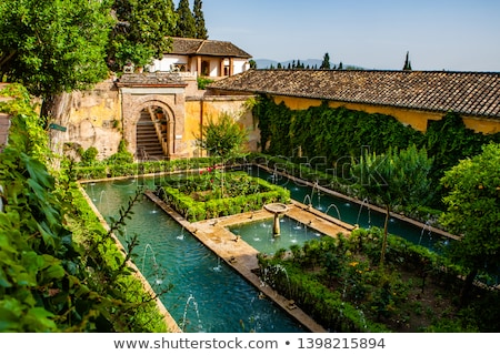 Alhambra  Fountain Garden Granada Andalusia Spain Stock photo © billperry