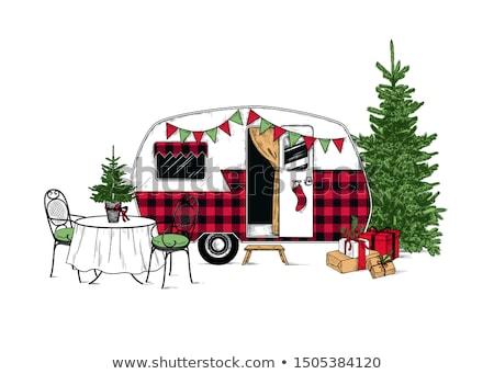Kroki Noel stoklama bağbozumu stil vektör Stok fotoğraf © kali