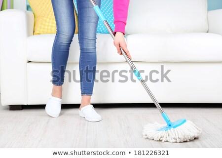 Fibra limpieza piso rosa plástico algodón Foto stock © ozaiachin
