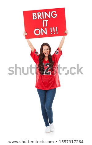 довольно футбола вентилятор белый улыбаясь Футбол Сток-фото © wavebreak_media