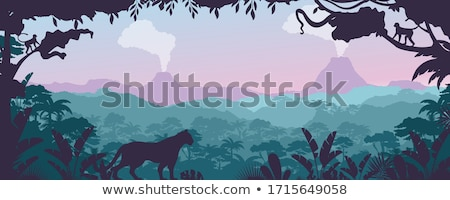 Természet jelenet vulkán erdő illusztráció fű Stock fotó © bluering