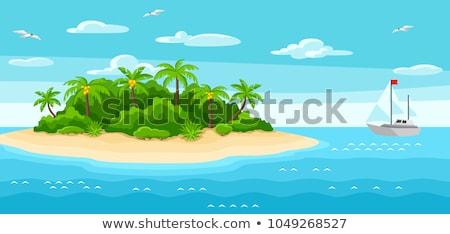природы · сцена · острове · океана · иллюстрация · пейзаж - Сток-фото © bluering
