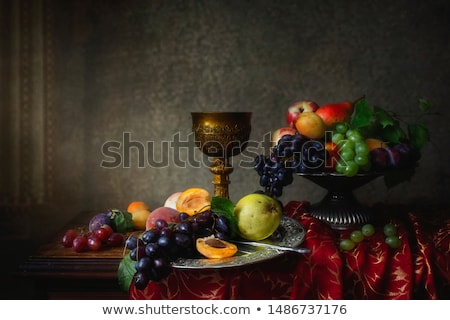 Still life with plums. Rustic style. stock photo © user_11056481