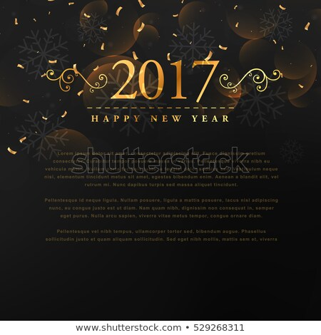 golden 2017 new year text with floral and conffetti on black bac Stock photo © SArts