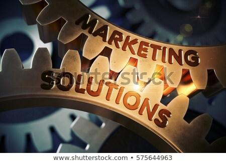 Branding Solutions on Golden Metallic Gears. Stock photo © tashatuvango