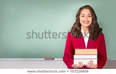 Genç genç tahta okula geri yazılı okul Stok fotoğraf © 2Design