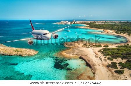 Avion battant île montagnes nuages bleu Photo stock © premiere
