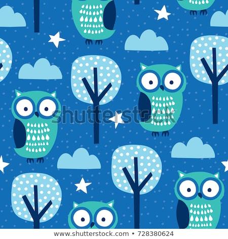 Birds on clouds turquoise blue pattern seamless vector. Stock photo © yopixart