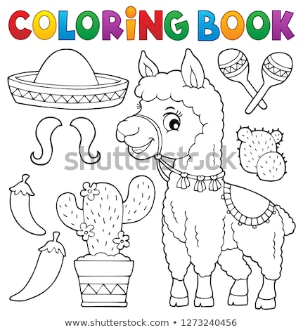 Coloring book llama and objects set 1 Stock photo © clairev