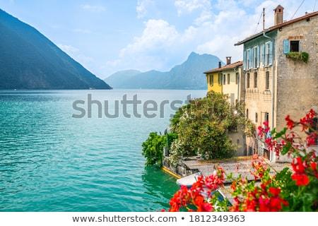 Faible village lac montagne Photo stock © LianeM