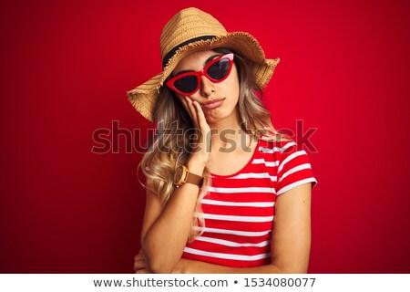 肖像 小さな 退屈 少女 夏 帽子 ストックフォト © deandrobot