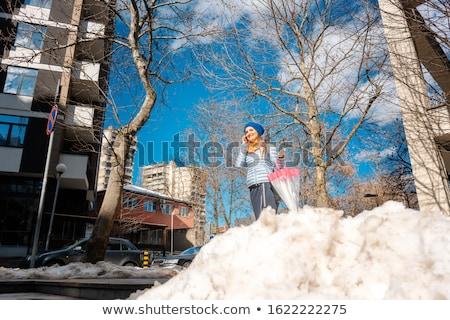 Nő sétál olvad hó késő tél Stock fotó © Kzenon