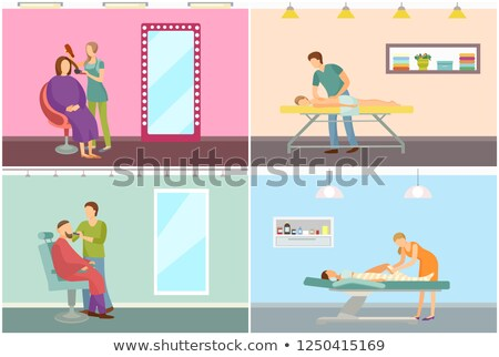 Body Wrap and Hair Styling Hairstyle Set Vector Stock photo © robuart