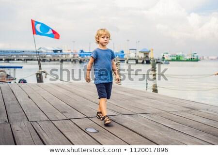 Junge Holz Brücke clan Stadt Stock foto © galitskaya
