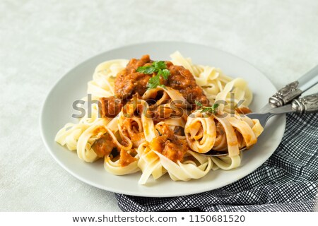 Pasta with eggplant, pepper and tomatoes Stock photo © furmanphoto