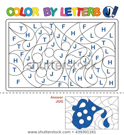 letter J educational task coloring book page Stock photo © izakowski