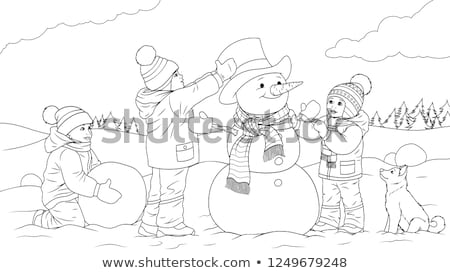 Children Playing Outdoors Sculpting Snowman Vector Stock photo © robuart