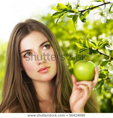 mulher · maçã · flor · cabelo · bela · mulher - foto stock © pekour