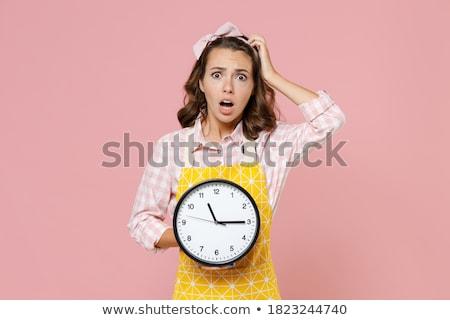 divertente · donna · clock · bianco · ufficio · lavoro - foto d'archivio © elnur
