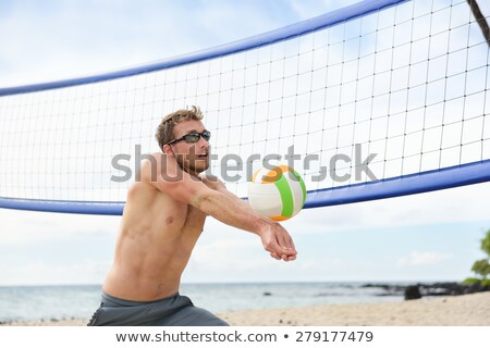 moço · bola · jogar · voleibol · praia · verão - foto stock © maridav