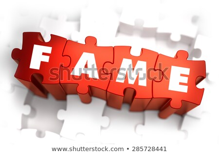 Stock photo: Fame - Text on Red Puzzles.