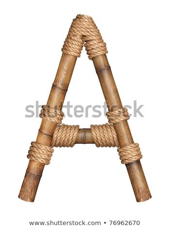 один письме бамбук алфавит изолированный белый Сток-фото © shutswis