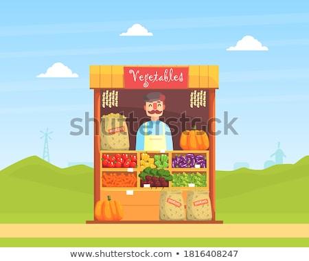Market vendors selling the fresh harvests Stock photo © bluering
