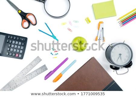 Close-up of stapler on sticky note on white background Stock photo © wavebreak_media