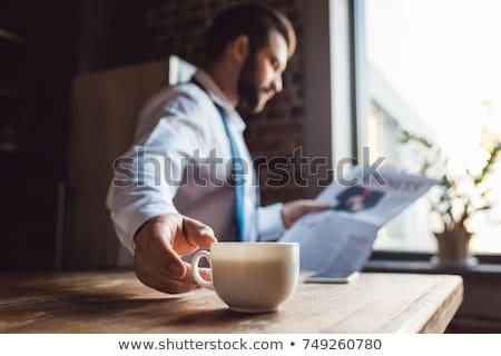 бизнесмен чтение газета кофе служба человека Сток-фото © wavebreak_media