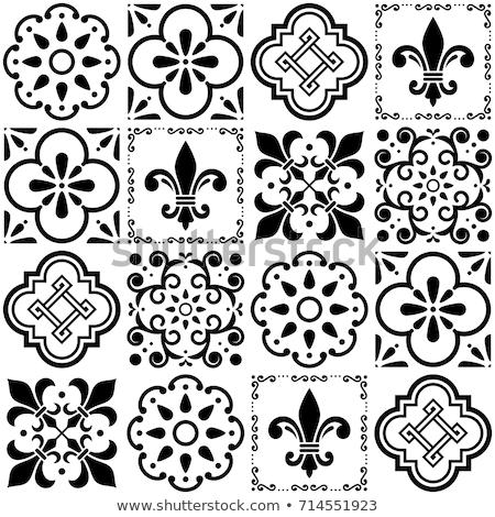 Lisbon tiles design, Azulejo vector seamless pattern, abstract and floral decoration inspired by tra Stock photo © RedKoala